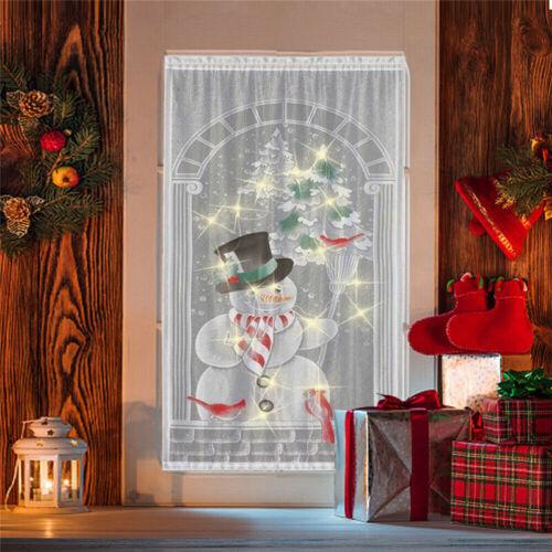 Türvorhang Gardinen LED Licht Weihnachtsmann Vorhang Fenster Weihnachten Dekor