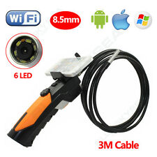 Wifi Borescope Inspection Endoscope 3M Snake Camera 8.5mm for iPhone iOS Android