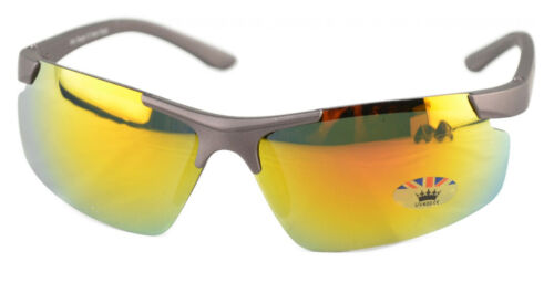 Mens Designer Ski Sports Visor Wrap Around Blue Orange Biker Mirror Sunglasses