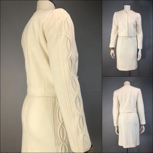 Vintage 80s COURREGES Skirt Suit Wool Blend Trapun
