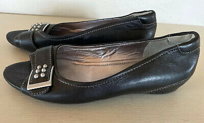 Ecco Women's Black Leather Open Toe Shoes Size US 77.5 EUR 38 Low Heel Slip On | eBay