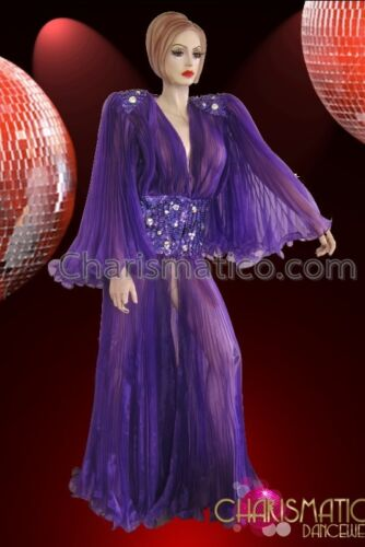 Sequin Embellished Drag Queen/'s Purple Pleated Organza Fancy Showtime Coat