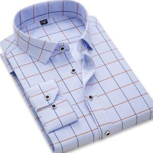 New-Mens-Fashion-Long-Sleeve-Plaids-Checks-Luxury-Casual-Slim-Dress-Shirts-GT443