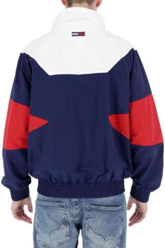 Tommy jeans rouge//blanc//bleu doublé Zip Complet Veste De Survêtement Coupe-Vent Taille L Bnwt