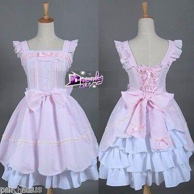 Ärmellos Rock Rosa&weiß Anime Lolita Kostüm Cosplay Prinzessin Mädchen Kleid TOP
