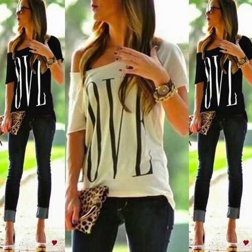 New Womens Love Letters Printed Blouse Loose Oversized Sexy Top Ladies Tee Shirt