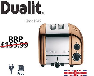 Dualit Vario NewGen Grille-Pain 2 Fentes Acier Inoxydable Cuivre UE Plug avec UK Adaptateur