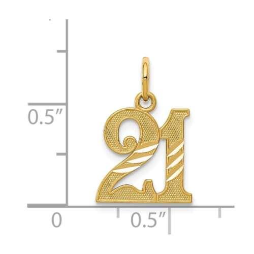 Details about  /14K Yellow Gold Shiny-Cut 21 Pendant