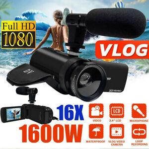 16x Zoom 1080P HD Digital Camcorder Video DV Camera Recorder External Microphone