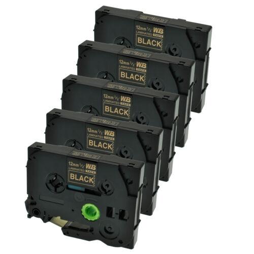 5 Schriftbänder kompatibel zu Brother P-Touch TZE-334 8m//12mm Gold auf Schwarz