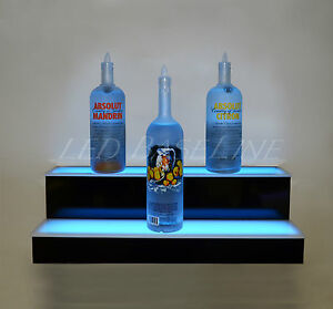 32 2 Step Wall Mount Led Lighted Bar Shelf Home Bar Liquor Bottle