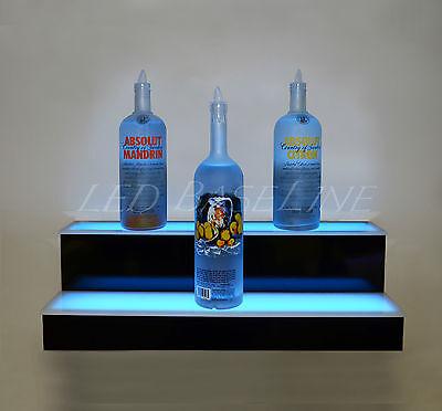 32 2 Step Wall Mount Led Lighted Bar Shelf Home Liquor Bottle Display Rack 852660503939 Ebay