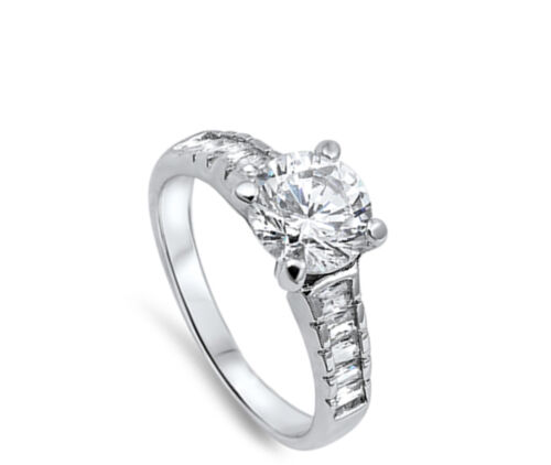 Details about  /Women/'s Solitaire Clear CZ Fashion Ring New .925 Sterling Silver Band Sizes 4-10