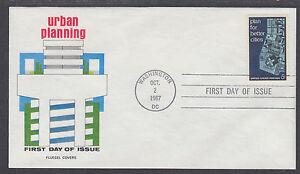 US-Mel-1333-15-FDC-1967-5c-Urban-Planning-Fluegel-Color-Cachet-VF