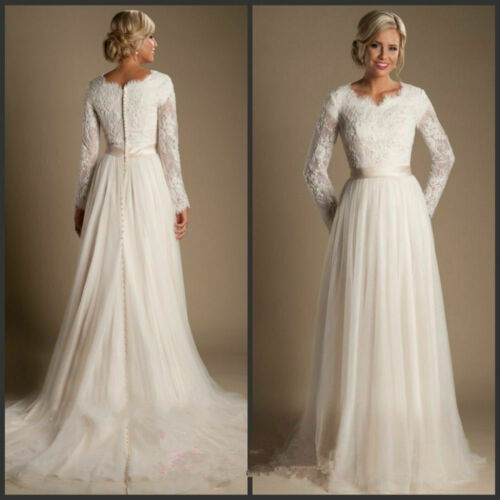 Elegant ALinie Spitze Tüll Langarm Brautkleider Hochzeitskleider Maßgeschneidert