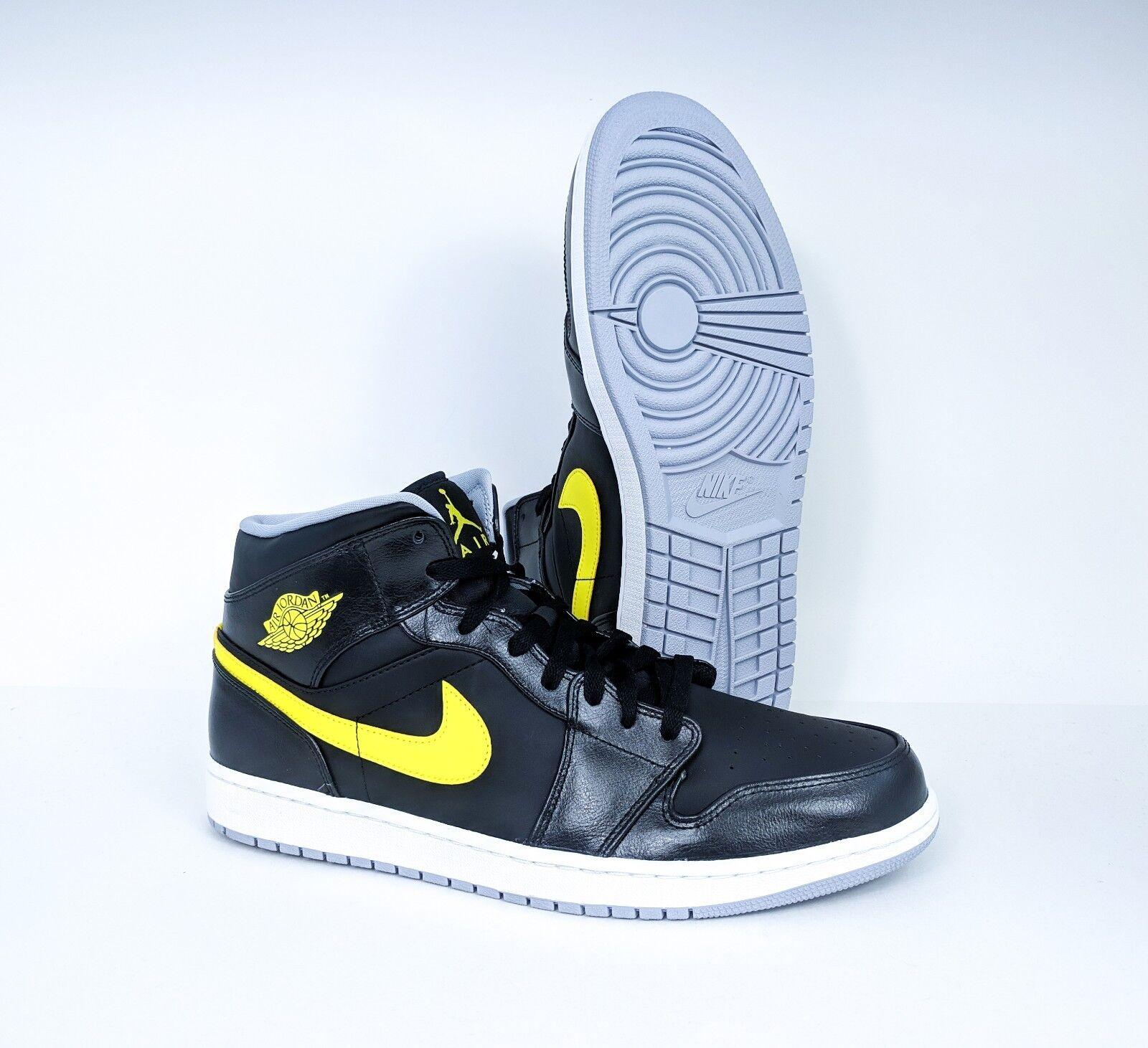Nike Air Jordan 1 Mid Black Vibrant Yellow Mens Size 13 554724-070 FREE PRIORITY
