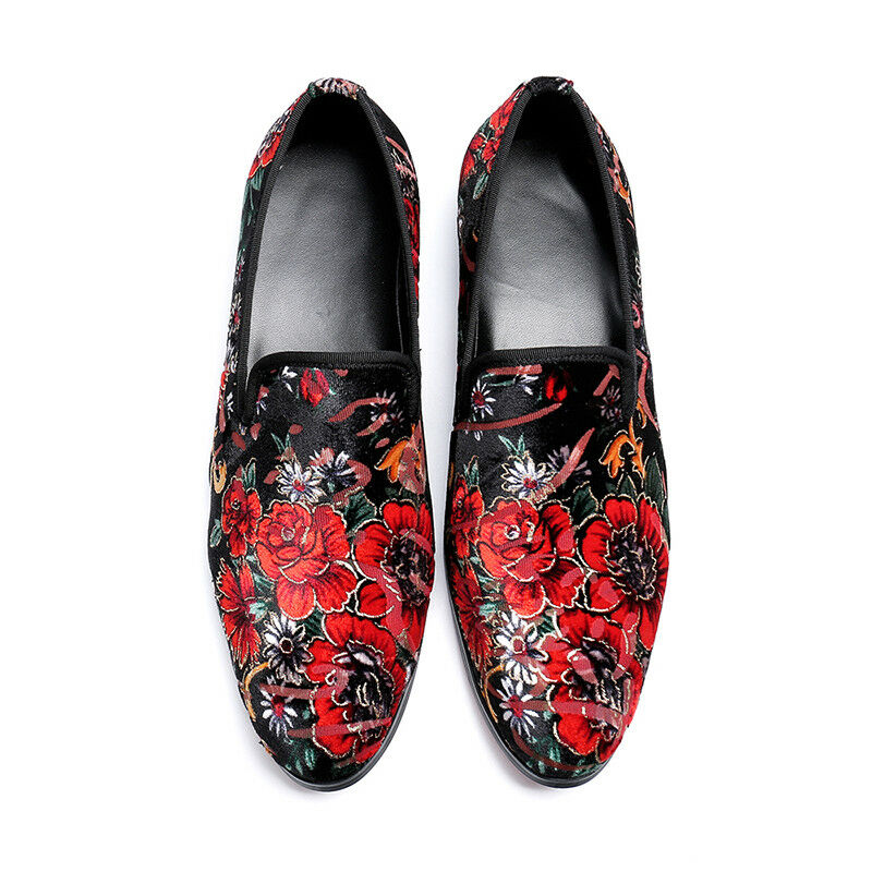 Fashion Uomo Flowers Embroidery Slip On Loafers Youth Vintage Party Pelle Shoe