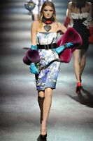 =ARTISTIC= LANVIN $5290 Runway Blue Floral Print Silk Cocktail Party Dress US2