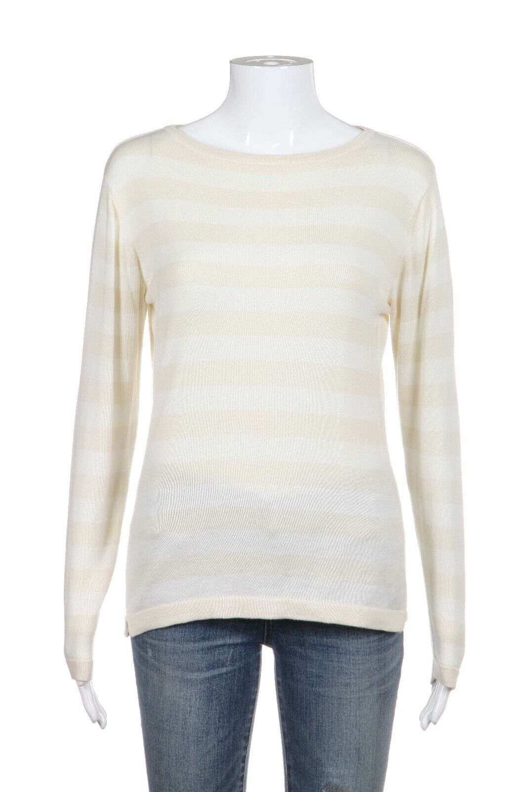 DEBRA C BEVERLY HILLS Sweater Top Medium 100% Cotton Cream White Striped
