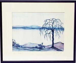Batik oder Seidenmalerei Cornelia Ebert sign 1987 Am Seeufer Landschaft 28x37cm