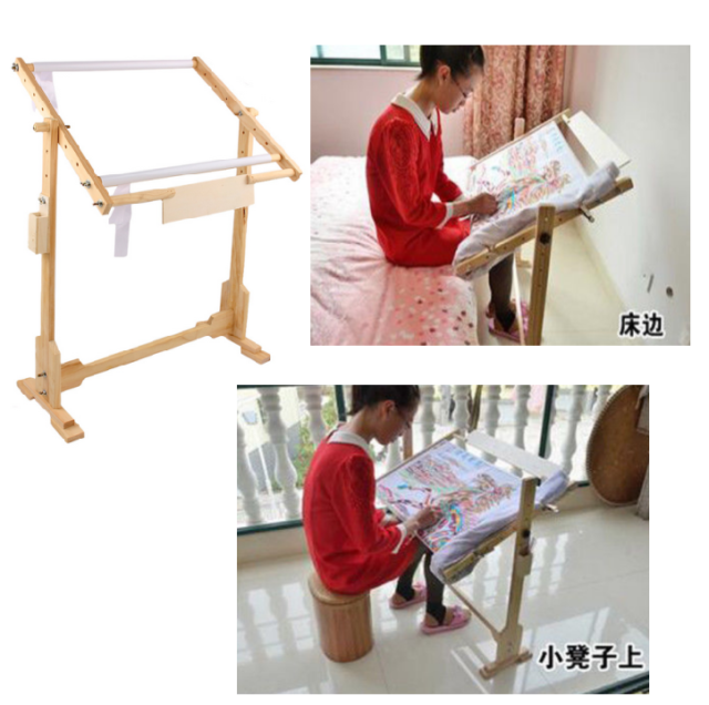 Cross Stitch Frame Floor Stand Wooden Embroidery Tapestry Hoops UK ...