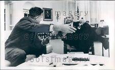 1967 President Lyndon Johnson With Charles Schultze Press Photo