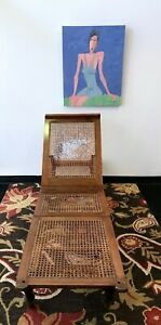 Antique-Cain-Lounge-Chair-Folding-Mechanical