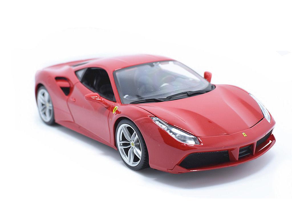 Bburago 1 18 Ferrari 488 GTB röd tärningskast tävlings bil modellllerler NY IN låda