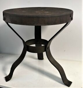 Antique Amish Country Steel Riveted 3 Three Leg Milking Stool Cow Goat Rustic