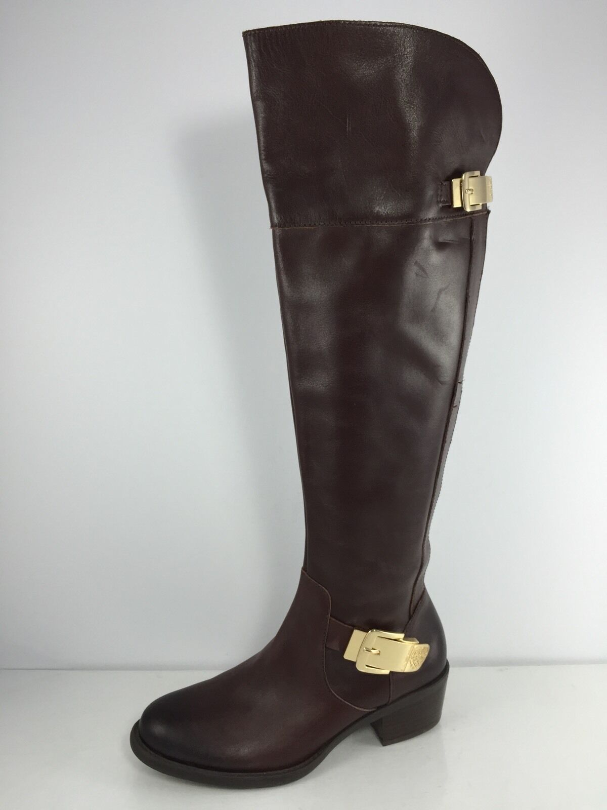 Vince Camuto Womens Dark Brown Leather Knee Boots 7 M