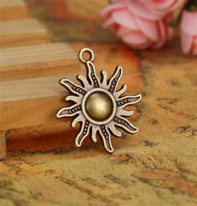 Wholesale 4pcs Tibet silver Sun Necklace Charm Pendant beads Jewelry Making NEW