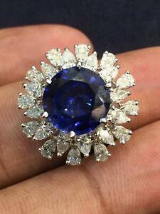 8-42-Cts-Birne-Cut-Natuerlich-Diamanten-Saphir-Cocktail-Ring-In-585-Fein-14K-Gold