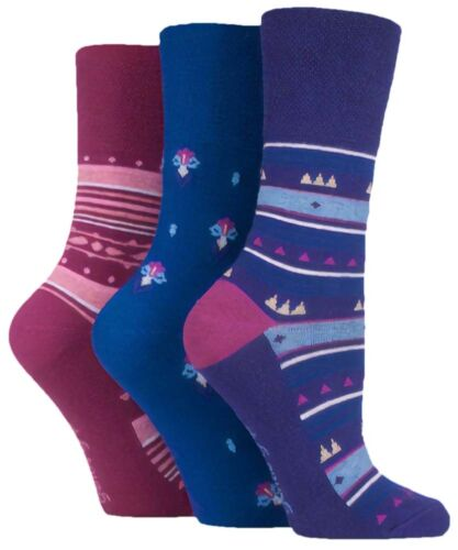 Size 4-8 3 Pairs Ladies Purple Red Blue Patterned Cotton Gentle Grip Socks