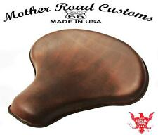 "15x14"" Brown Leather Spring Solo Tractor Seat Chopper Bobber Harley Sportster"