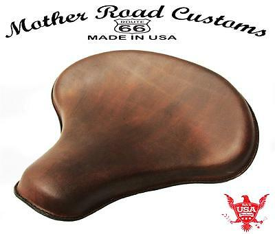 """15x14"""" Brown Leather Spring Solo Tractor Seat Chopper Bobber Harley Sportster"""