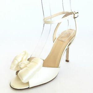 KATE SPADE Women's White Satin Ankle Strap Peep Toe Bow Heel Pumps Size 6.5 M*