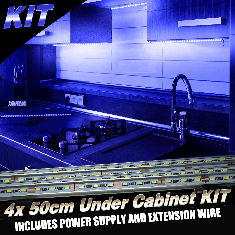 4pcs Kit Kitchen Under Cabinet Counter LED Light Bar Blue