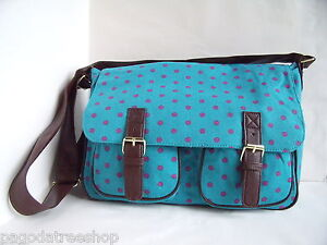 New-Large-Satchel-Style-Handbag-in-Polka-Dot-Canvas-in-Pink-or-Turquoise