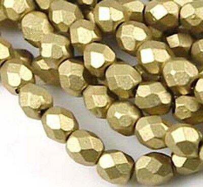 50 Czech FirePolish Round Matte Metallic Aztec Gold 4mm