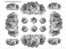 FRENCH FURNITURE DECAL DIY SHABBY CHIC IMAGE TRANSFER VINTAGEE LABEL ROSES BLACK
