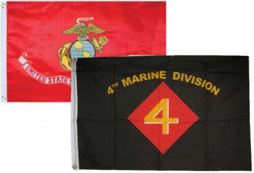 2x3 2/'x3/' Wholesale Combo USMC Marines EGA /& 4th Marine Division Flags Flag