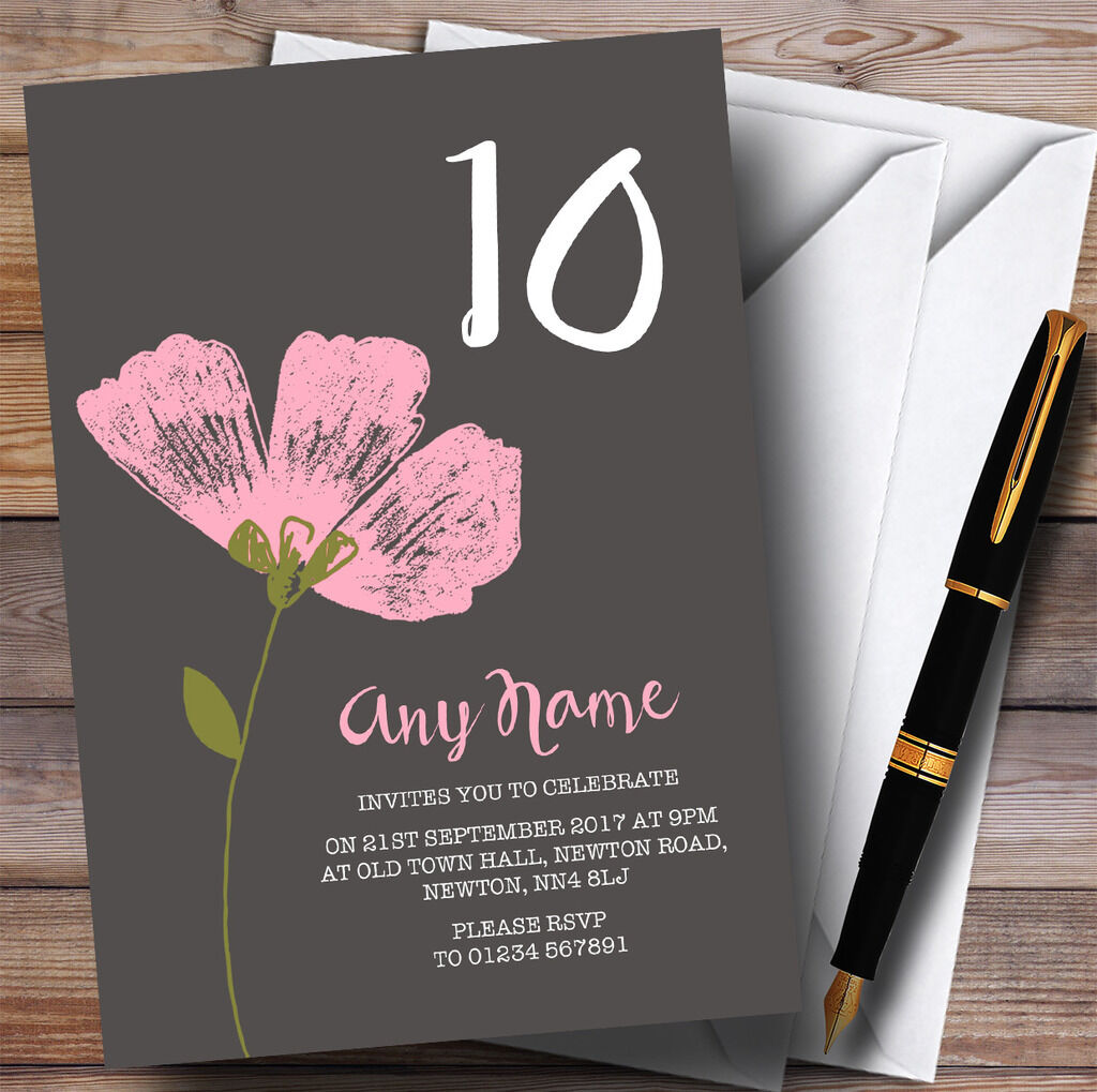 Rosa Watercolour Watercolour Watercolour Flower 10th Personalised Birthday Party Invitations 7dc972
