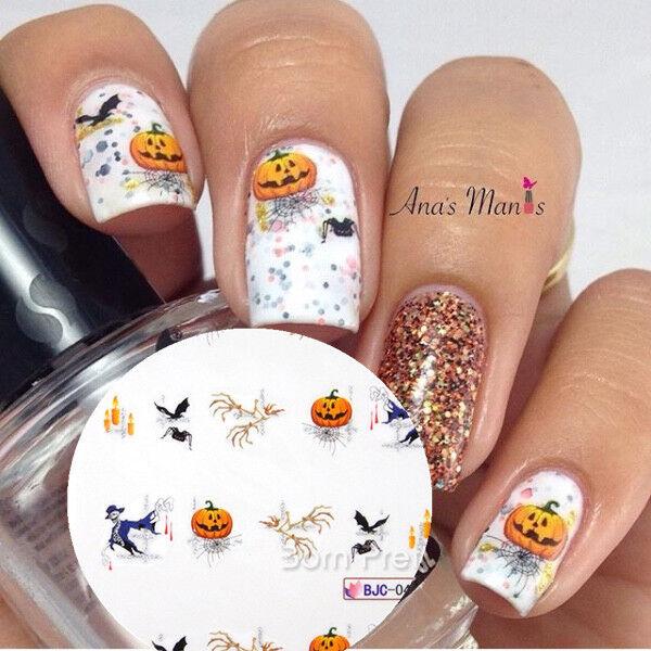 2 Sheets Pumpkin Skull Halloween Witch Nail Art Water Decals