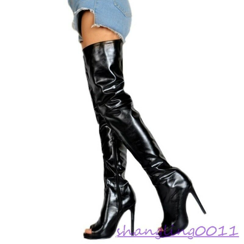 Womens Stilettos Stilettos Stilettos High heel shoes Open toe Side zip Sexy Party Over Knee boots a7f7af