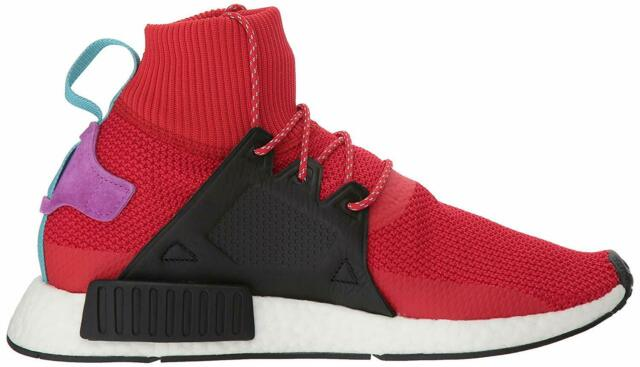 adidas NMD Xr1 Winter Mens Bz0632 Red Black Boost Roller Knit Shoes Size 12
