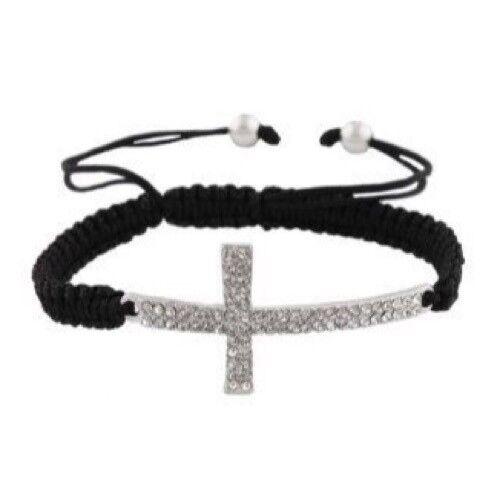 Black Macrame Rhinestone Cross Bracelet