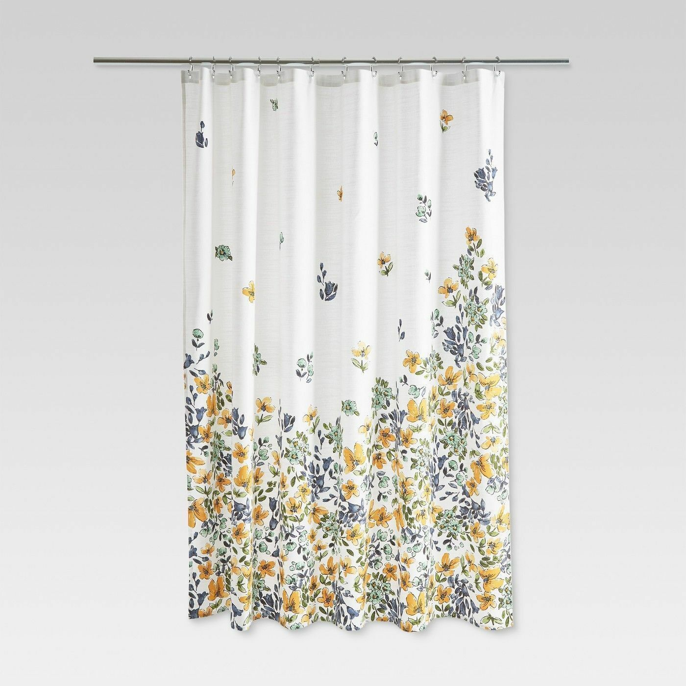 THRESHOLD Gold Medal Floral Gelb Blau Fabric Shower Curtain NEW FLOWERS 56f556