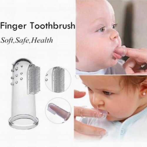 BABY FINGER TOOTHBRUSH SOFT SILICONE ORAL TEETHER TEETH TODDLER GUM MASSAGER UK