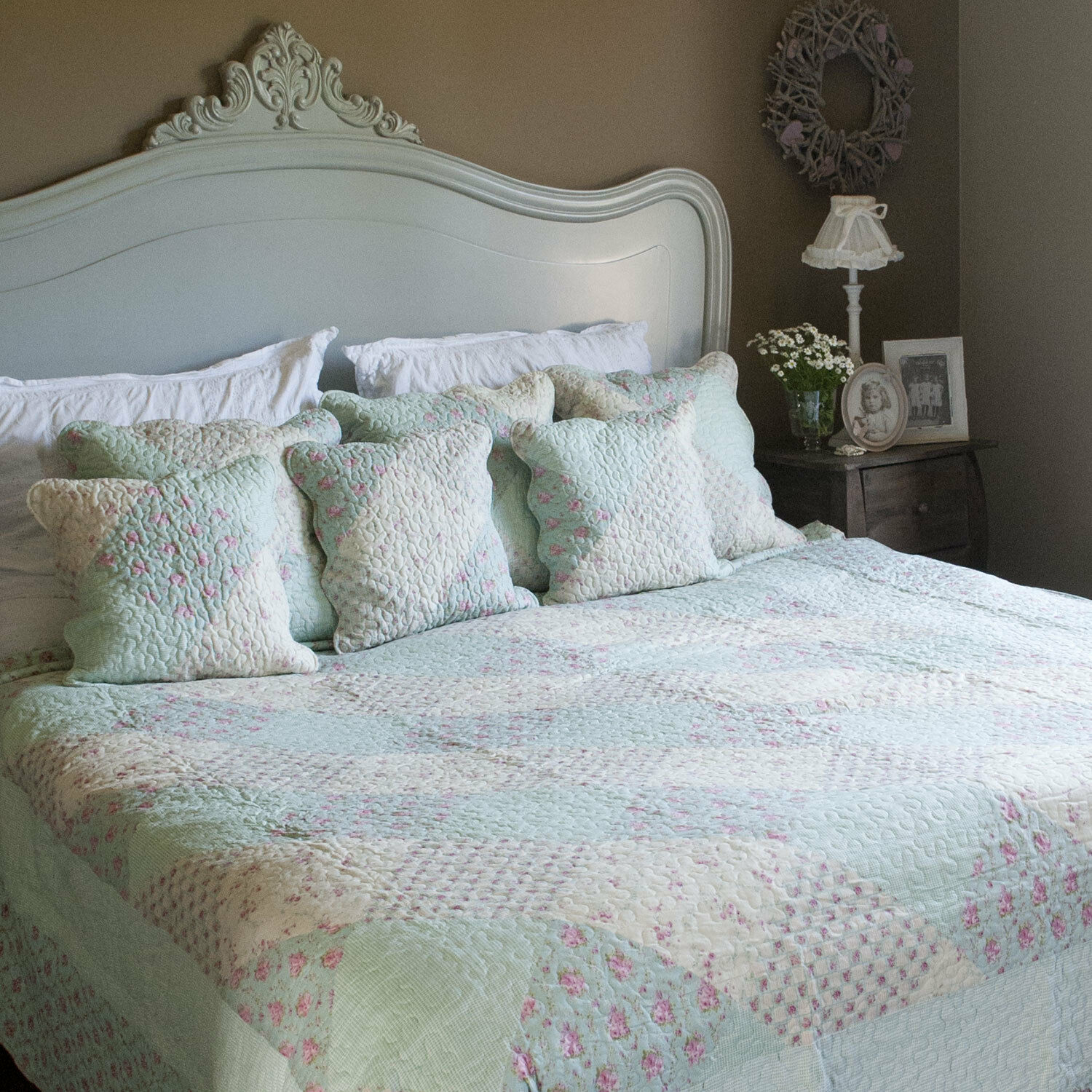Clayre & Eef Bedspread Quilt Plaid Shabby Rustic pinkS PATCHWORK