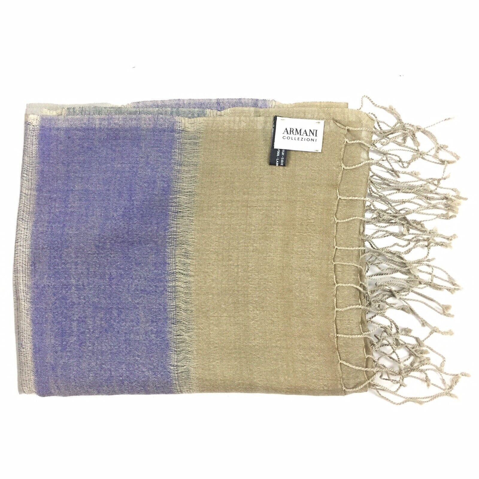 "Armani Collection Silk / Wool Fringe Scarf - 80"" X 33"" - Blue, Tan Striped"